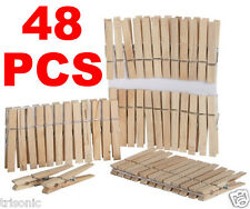 48 NATURAL WOODEN LAUNDRY CLIP CLOTHES PINS SPRING CLAMP STYLE TOYS ARTS CRAFTS