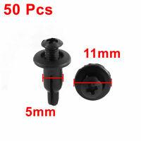 50 Pcs 11mm x 5mm Black Plastic Rivet Bumper Lining Trim Panel Fastener Clips