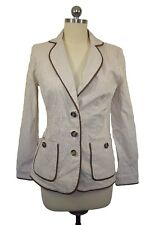 Tommy Bahama Womens Brown Blazer Jacket Size 2 Striped Boyfriend 0918