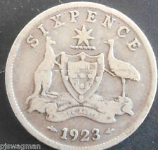 1923  Australian Silver SIXPENCE (ZACK) KING GEORGE V  (very Nice) Gr8 Gift