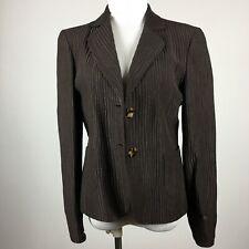 Jones New York 6 Blazer Jacket Brown Textured Two Button Lined