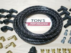 8mm Vintage Cloth Covered Spark Plug Wire Kit for ELECTRONIC IGNITION SYSTEMS WT