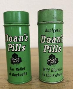 Vintage Doans Pills Green Tins Set Of 2 Empty Flaws
