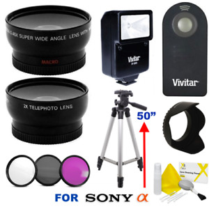 """WIDE ANGLE  LENS  ZOOM LENS + 50"""" TRIPOD + FILTER KIT FOR SONY A6500 A6300 A6100"""