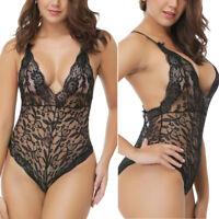 Plus-Size Women Sexy Lingerie Lace G-string Dress Underwear Babydoll Sleepwear