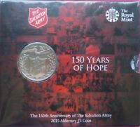 2015 SALVATION ARMY 150 Years of Hope Five Pound Coin on Card