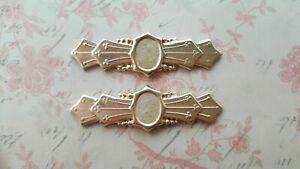 Brass Art Deco Plaque Stampings x 2 - 3114RAT