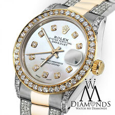 Ladies 26mm Rolex Datejust White MOP Diamond Accent Dial with Oyster Band