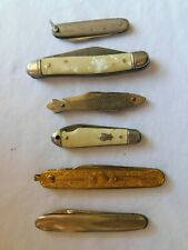 Pocket Knife Lot of 6, Vintage, Antique, Gold filled, Silver, Fish, Inlaid Stone