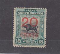 North Borneo 1909 20c On 18c Perf 14 1/2/15 SG177a MH JK1086