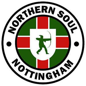 Nottingham - Northern Soul - Auto / Finestrino Adesivo Dic. + 1 Gratis Interno