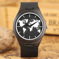 Mens Wood Watch Full Ebony Wooden Band Quartz Watches Creative Bamboo Bracelet