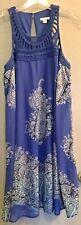NWT Xhilaration Womens Size M/M Crocheted Bodice Blue White Paisley Dress