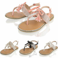 Womens Ladies Summer Sandals Diamante Flat Bow Holiday Beach Party Shoes Size