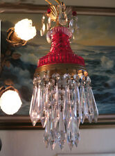 Vintage ruby Lady cupcake glass crystal prism Brass Tole SWAG lamp chandelier