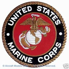 "US Marine Corps Wooden Seal, 13 1/2"" Round 3/4"" Thick, Wall Mount"