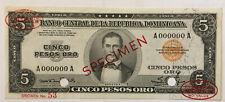 DOMINICAN REPUBLIC 5 Pesos 1952 *Pick 68s* TDLR *UNCIRCULATED* *SPECIMEN*