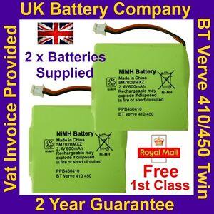 2 x New BT Verve 410 450 Twin Phone Batteries UK GP 5M702BMXZ 2.4V 600mAh NIMH