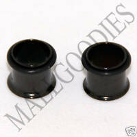 0076 Black Single Flare Flesh Steel Tunnels Earlets Gauges 00G Plugs 10mm PAIR