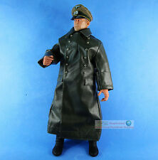 1:6 FIGURE WW2 GERMAN Panzer GENERAL Manteuffel Winter Leather Trench Coat FH_5P