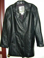 LEATHER COAT Middlebrook Park Women Genuine Long Trench Stylish L Quality Biker!
