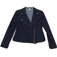Jaclyn Smith Denim Moto Jacket Womens Sz L Large Dark Wash Asymmetrical Zip