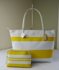 Coach 30511 Sunglow Yellow White Strip Coated Canvas Tote + 51416 Cosmetic Case