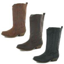 Botas de caña media de mujer de color principal marrón sintético