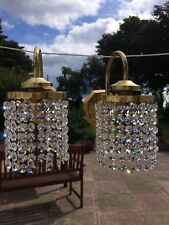 Pair Of Vintage Brass Real Crystal Wall Lights Chandelier Type Beautiful Colours