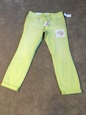 Jessica Simpson Light Lime Green Pants Jeans Rolled Skinny 26x30 $60 NWT
