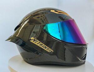 Black Full Face Motorcycle Helmet Carbon Fibre Racing Helmet Motocross NEW 2021