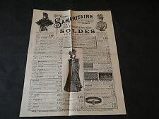 CATALOGUE SAMARITAINE MODE FEUILLE RECTO VERSO S..... DE FIN DE SAISON 1899