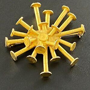 Vintage Brooch 1970's Designer Mr. We Gold Tone Brutalist Pinwheel of Nails #402