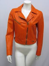 BLUMARINE LEATHER JACKET ORANGE MOTORCYCLE STYLE GOLD METAL HARDWARE I 40 6