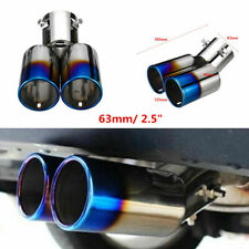 """Universal 63mm/2.5"""" Stainless Steel Car Rear Dual Exhaust Pipe Tail Muffler Tip"""