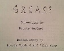 Grease Olivia Newton-John, John Travolta, Stockard Channing...Movie Script