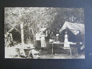 Old Vintage c.1910 - SEASIDE OREGON - Camping Scene - RPPC Real Photo POSTCARD