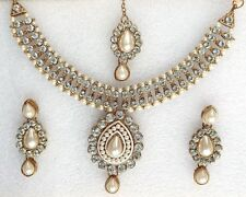 Indian Ethnic Bollywood Gold Plated White Pearls Jewellery Necklace Earrings Set