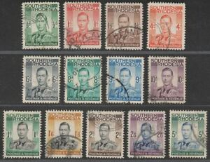 Southern Rhodesia 1937 King George VI Set Used SG40-52 cat £25