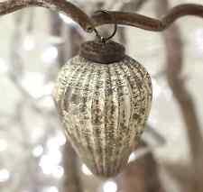 4 X Argento Antico Vetro a Goccia NINNOLI - 5cm Xmas Tree Decorazione Vintage