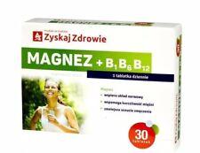 Magnez + B1 B6 B12 Uklad Nerwowy Miesnie  Magnesium Vit B1 B6 B12 Muscle 30 tabs