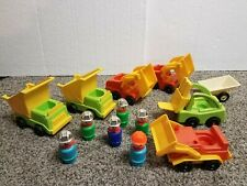 Vintage Fisher Price little people lot of 13 construction vehicles & workers