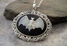 Handmade Gothic Steampunk Bat Cameo Necklace