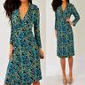 LILY Green Brown Blue 3/4 Sleeve V Neck Wrap Style Dress M Medium
