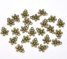 LOT de 12 PENDENTIFS perles breloques BRONZE PETITES FLEURS SANS NICKEL bijoux