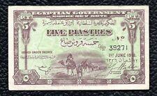 Egypt P-162  1.6.1918  5 Piastres, Nice Very Fine note!