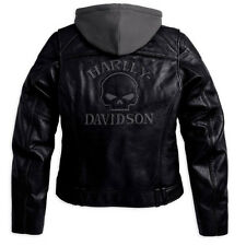Harley Davidson Women Reflective Willie G Skull Leather Jacket 3n1 98152-09vw XL