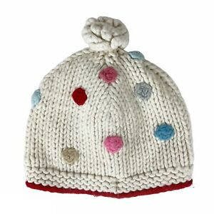 GAP Baby Girl 12-18 Months Bobble Knit Hat Pom Pom Knot Wool Blend