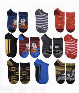 Boys Superman Batman Socks Lot of 10 NWT Shoe Size 7-10 or 10-4 No-Show B