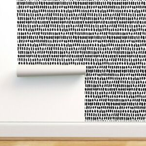 Wallpaper Roll Black And White Strokes Abstract Scandinavian Gender 24in x 27ft